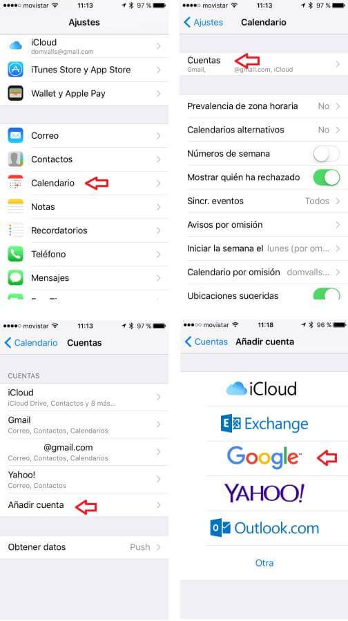 Añadir cuenta en Apple