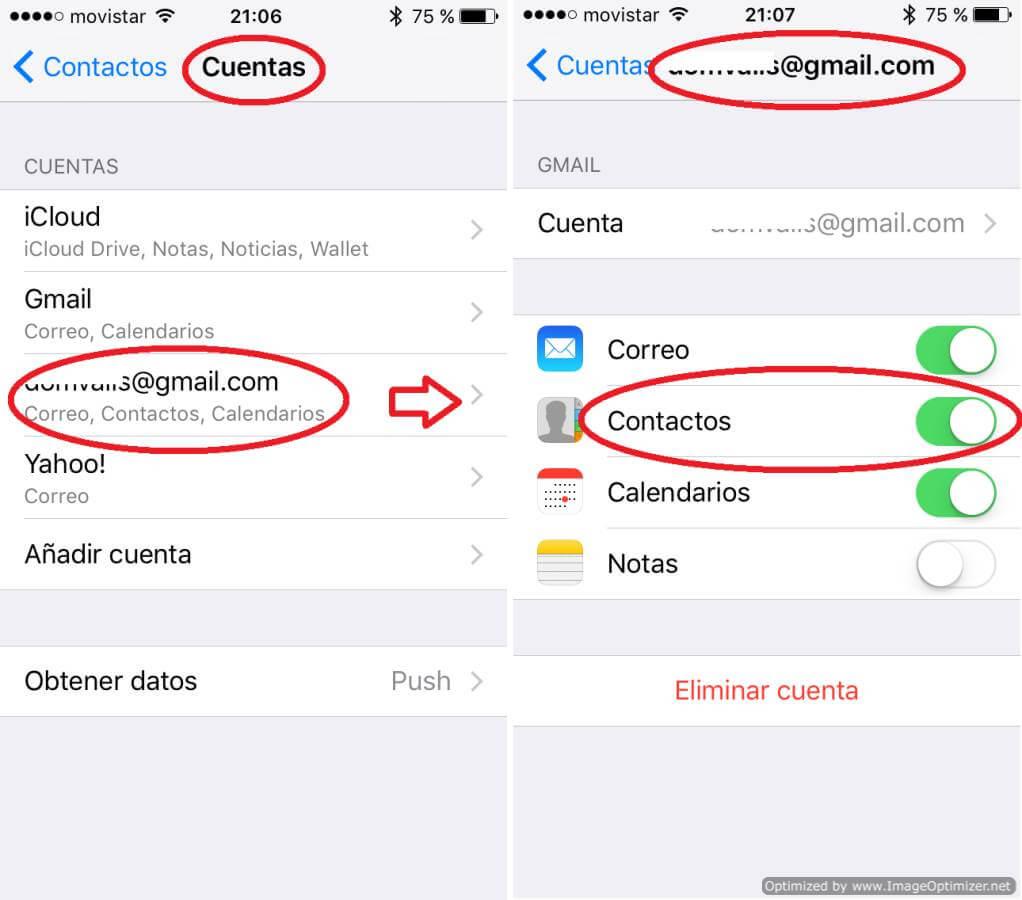 Ajustes de sincronización de cuentas de Apple