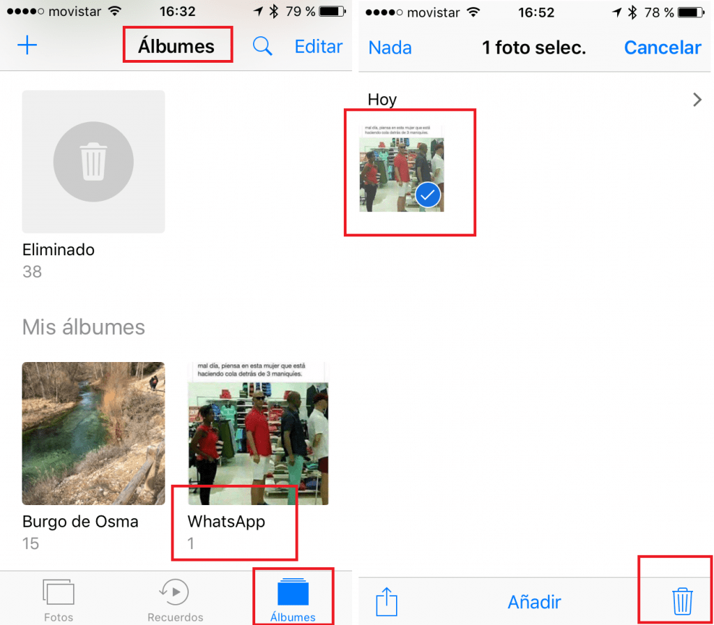 APP Fotos. Álbum WhatsApp