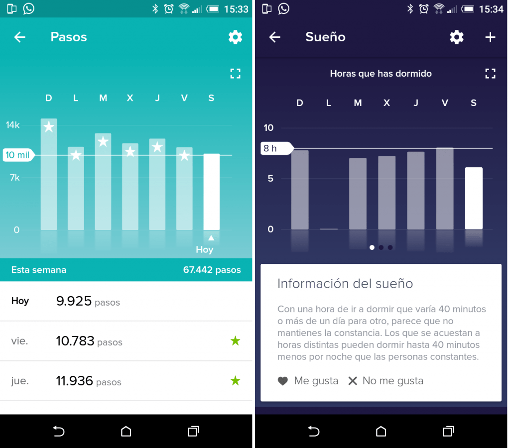 Panel. Estadísticas de pasos y sueño