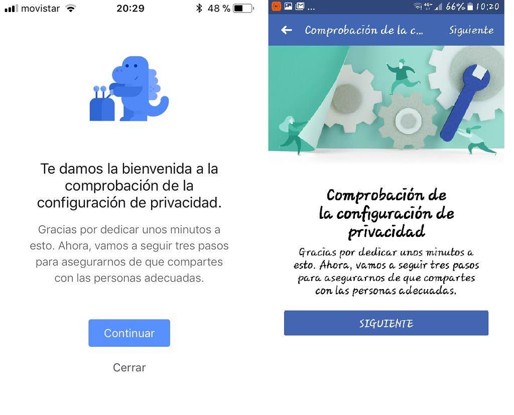 Configuración de la privacidad. Apple y Android
