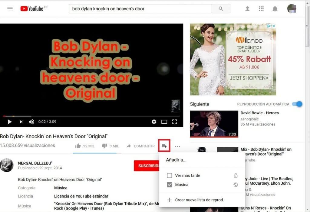 Youtube. Listas de reproducción