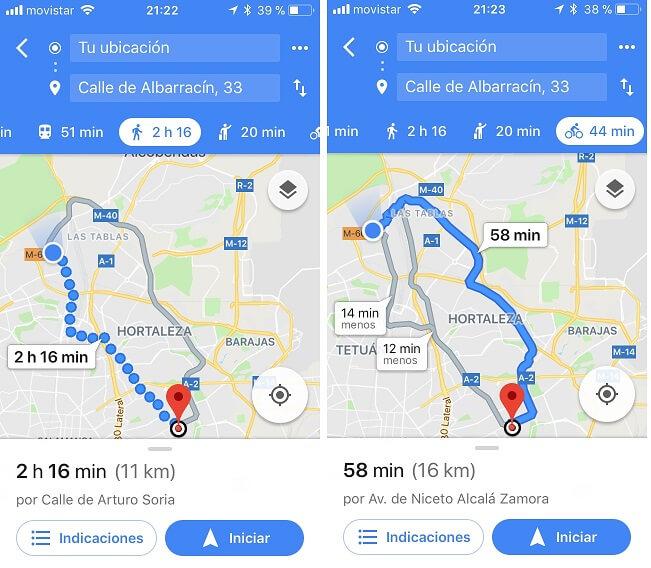 Como llego andando y en bicicleta