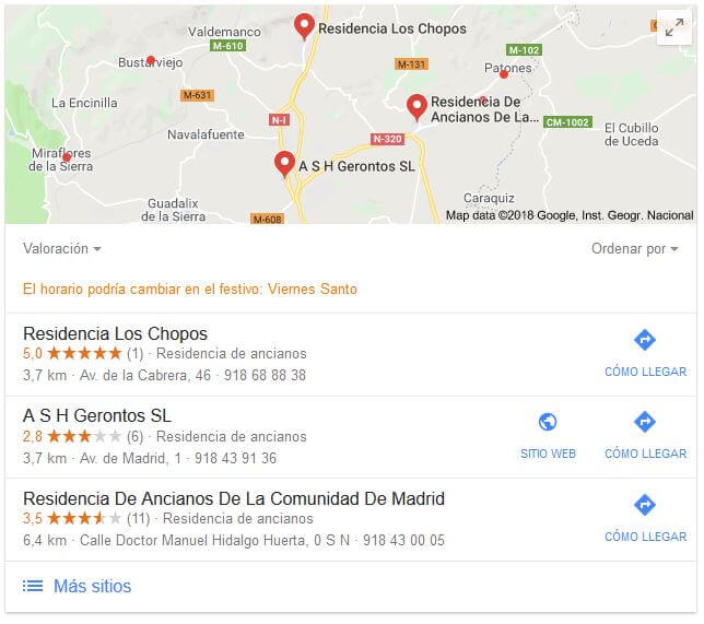 Google. Resultados geolocalizados
