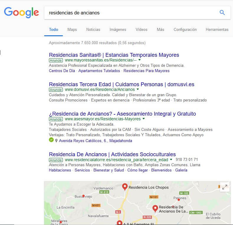 Google. Residencia de ancianos