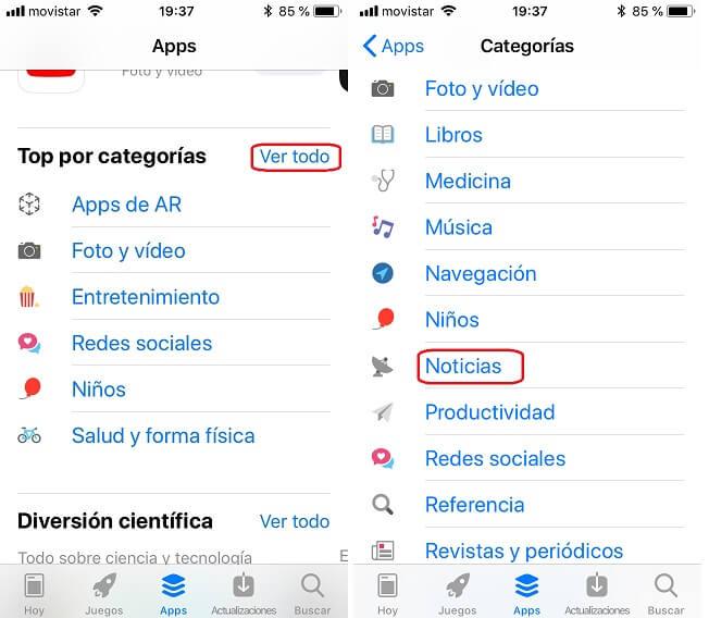 App Store. Apps. Categorías