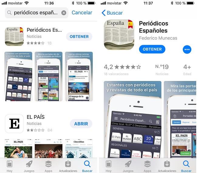 App Store. Resultados de búsqueda