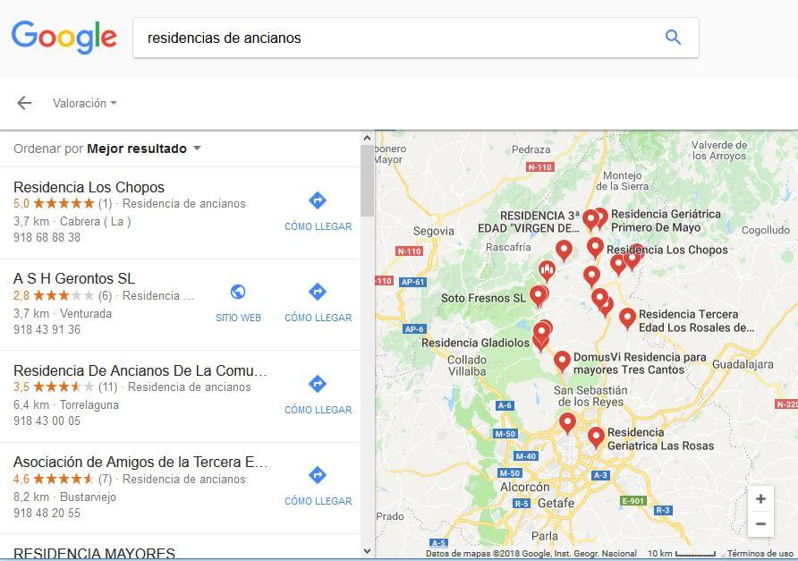 Google. Resultados geolocalizados ampliados