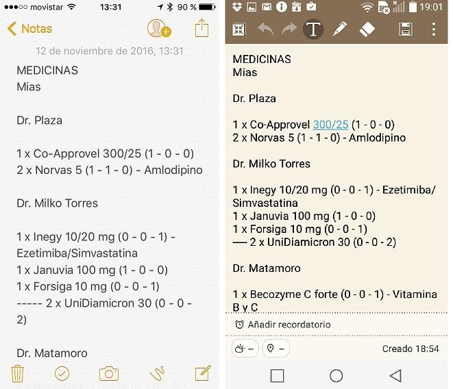 Pantallas de Notas en iPhone y Android