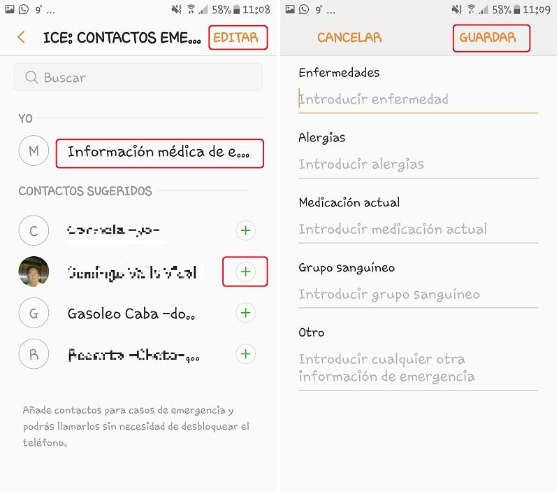 Android. Contactos e Información médica