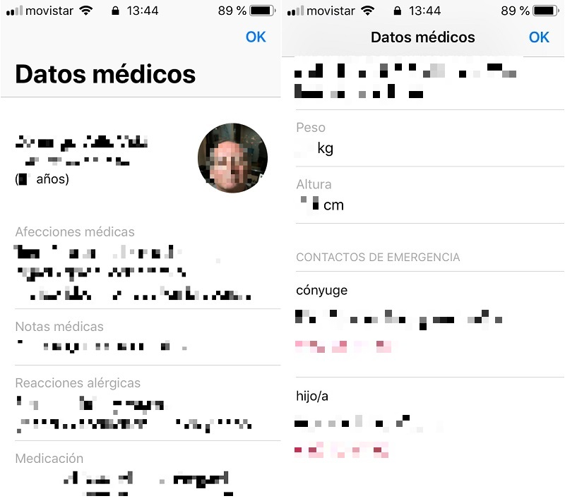 Apple. Datos médicos y contactos