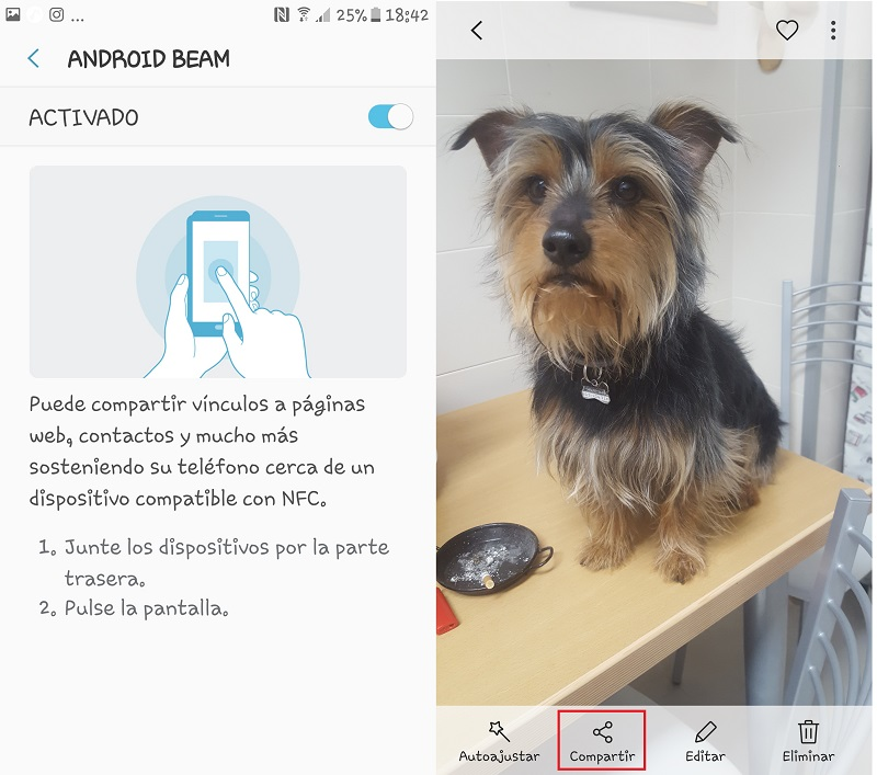 Android beam y Foto en la Galería