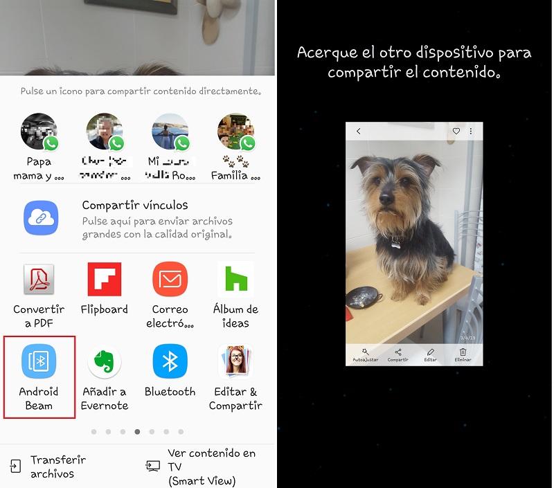 Pantallas para Compartir con Android Beam