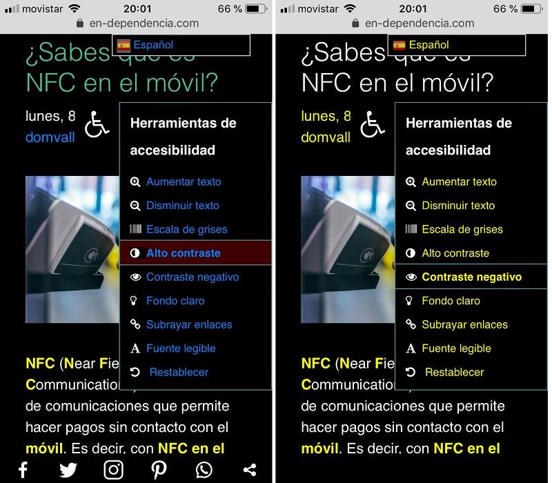 Efectos en las pantallas de seleccionar las opciones de Alto contraste y Contraste negativo
