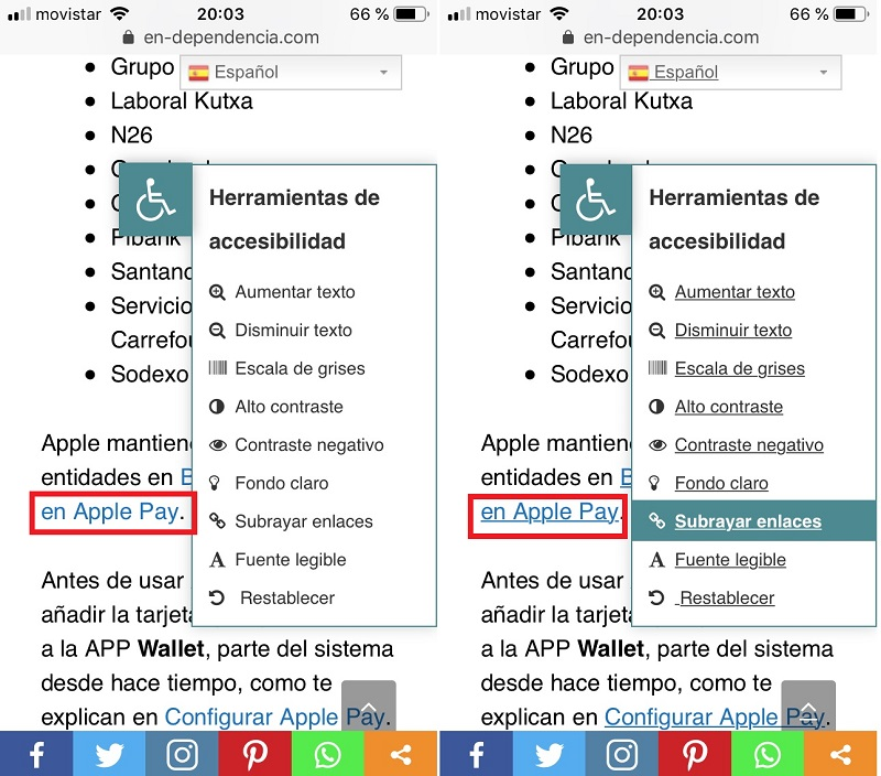 Efecto en la pantalla de seleccionar la opción de Subrayar enlaces