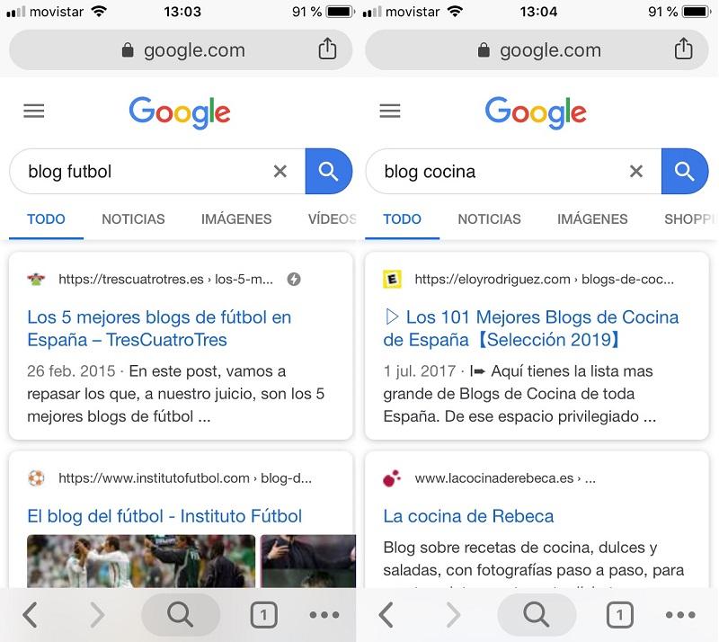 Pantallas de Búsquedas en Google de blogs de fútbol y cocina
