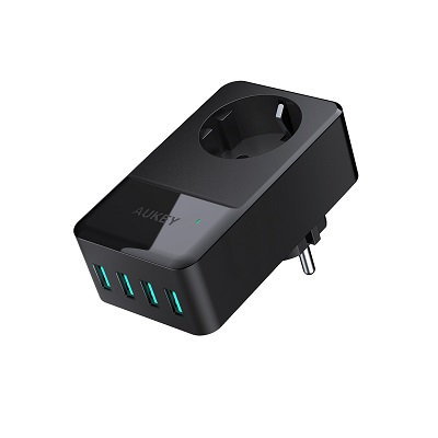 Cargador con Enchufe y 4 Puertos USB Aukey