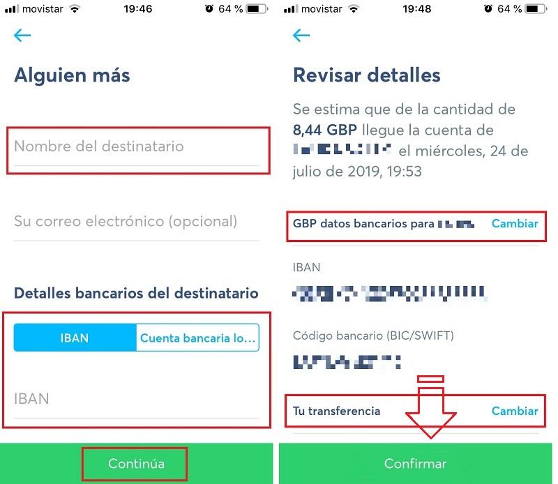 Pantallas con los datos bancarios del Destinatario y pantalla para Revisar los detalles del envío