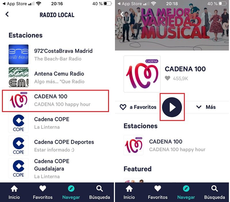 APP TuneIn. Pantallas de emisoras de Madrid Local