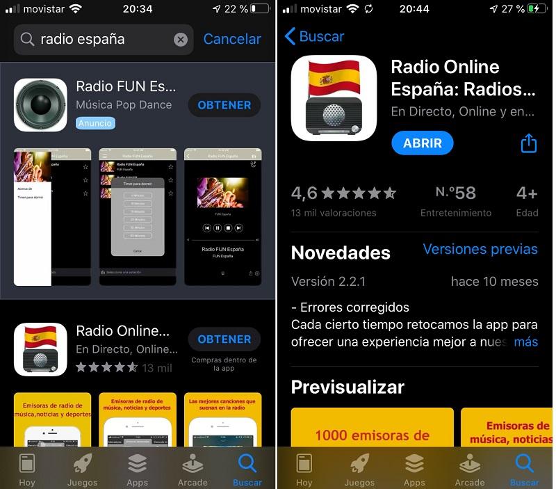 Buscar APP de Radio local en la APP Store
